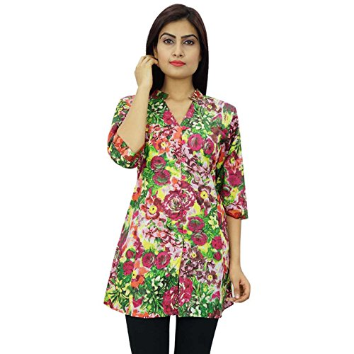 India Las mujeres del algodón del vestido del verano de Boho superior ocasional de la túnica Vestido de tirantes Multicolor-1
