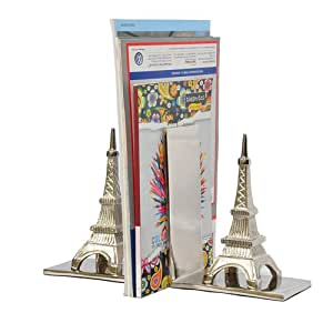 Decorative heavy duty bookends eiffel tower sturdy aluminum book ends home kitchen - Sturdy bookends ...