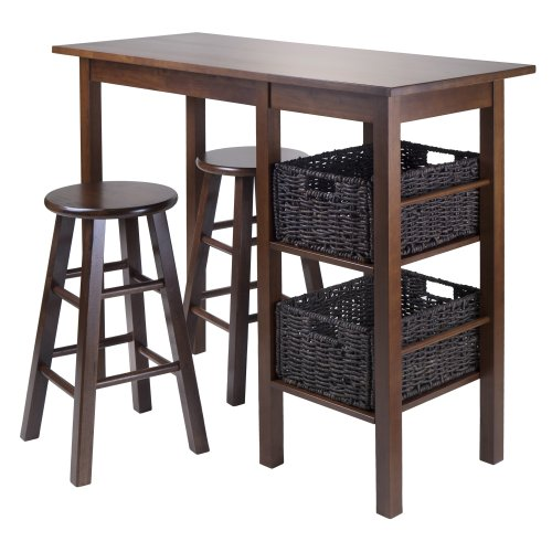 Winsome Wood Egan 5-Piece Table with 2 24-Inch Square Legs Stools and 2 Baskets
