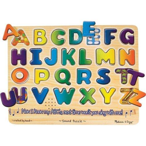 (Melissa & Doug Alphabets Theme Classic Style Sound Puzzle + FREE Scratch Art Mini-Pad Bundle [03407])