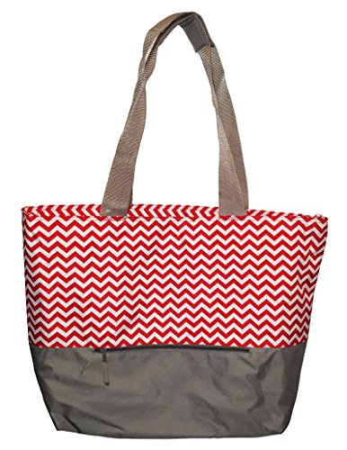 XL Beach Tote Chevron Print Weekender Bag with Mesh Webbed Handles and Outer Zippered PocketCan Be Personalized (Blank, Red) ()