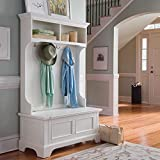 Naples 64'' Storage Bench Hall Coat Rack White Dimensions: 40''W X 18.5''D X 64''H Weight: 97 Lbs