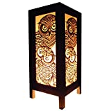 Thai Vintage Handmade Asian Oriental Handcraft Night Owl Bird Bedside Table Lights or Floor Wood Paper Lamp Home Decor Bedroom Decoration Modern Design from Thailand
