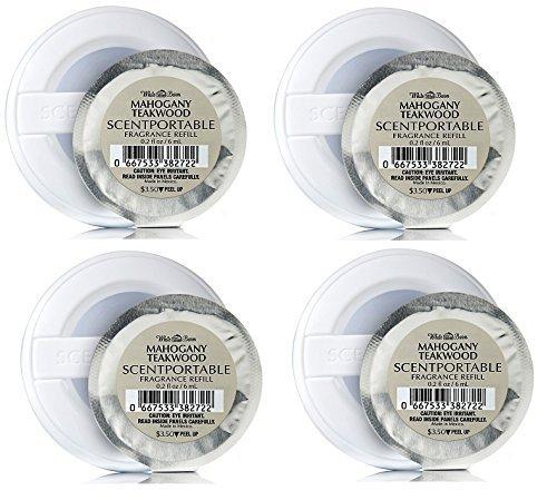 Bath & Body Works Mahogany Teakwood Scentportable Bundle of 4 Refill Discs (Bath Body Works Car)