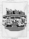1950s Decor Fleece Throw Blanket Nostalgic Illustration of Retro Diner Restaurant with Vintage Cars Back Then in Fifties Throw Blanket