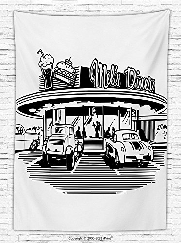 1950s Decor Fleece Throw Blanket Nostalgic Illustration of Retro Diner Restaurant with Vintage Cars Back Then in Fifties Throw Blanket by iPrint