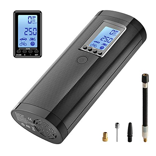 LLivekit Rechargeable Air Compressor Pump Mini, Portable Cordless Tire Pump, Electric Hand Held Car Inflator, Digital LCD LED Light, 2000mAh Power Bank USB Charging, for Motorcycle, Bike, Bicycle, Car