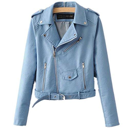 Yougao Women's Punk Long Sleeve PU Leather Coat Zip up Short Motocycle Jacket Pink L