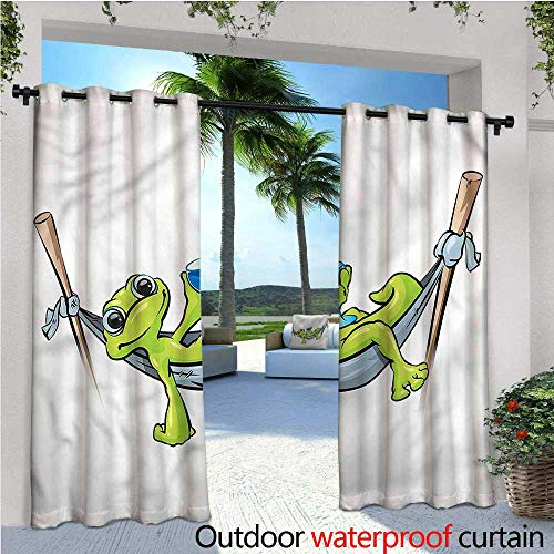 warmfamily Reptile Outdoor- Free Standing Outdoor Privacy Curtain Frog Prince on Hammock Wine for Front Porch Covered Patio Gazebo Dock Beach Home W96 x ()
