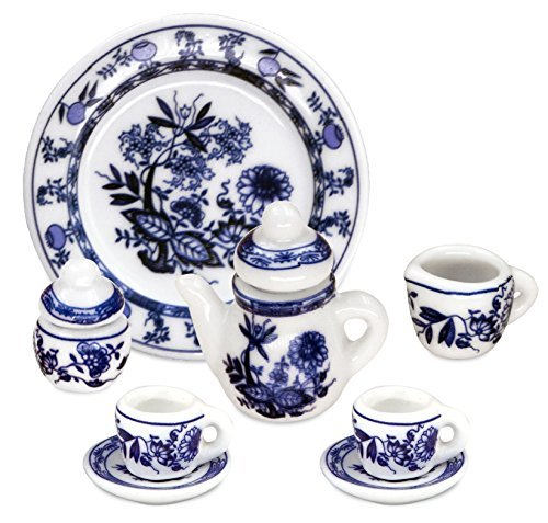Zamonji 1:12 Scale 10 Pieces Dollhouse Miniature Porcelain Blue Floral Tea Set with Tray (Blue Floral) -