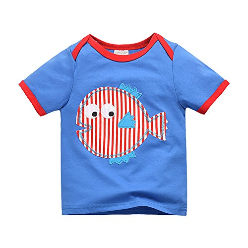 Merida's Little Brothers Costume (Uudora Baby Boy Kids Summer Fish Embroidery Casual Short Sleeve Tops T-shirt 1-6Y)