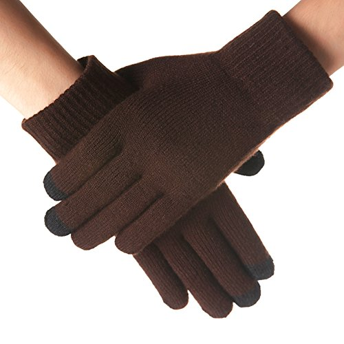 Urban Coco Womens Knit Touchscreen Gloves Winter Fleece Lined Thick Gloves  Deep Coffee