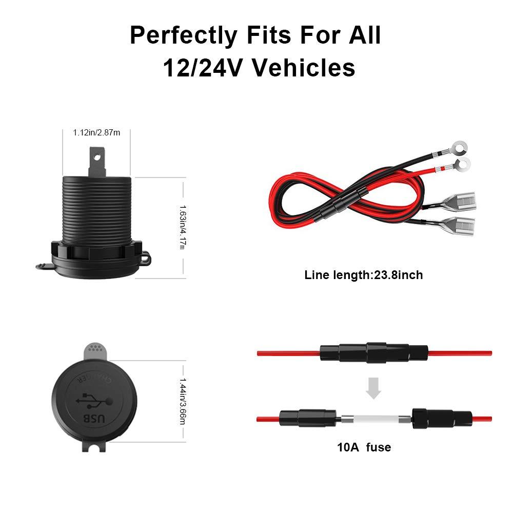 Impermeabile e Antipolvere con LED per Veicoli Boat Motocicli SUV Caravan Marine 2 Porte Caricabatteria USB per Moto 12V // 24V SONRU Presa USB per Auto 5V//4.2A con Interruttore Tattile