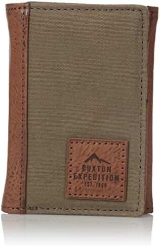 Buxton Men's Expedition II Huntington Canvas RFID Blocking Three-fold
