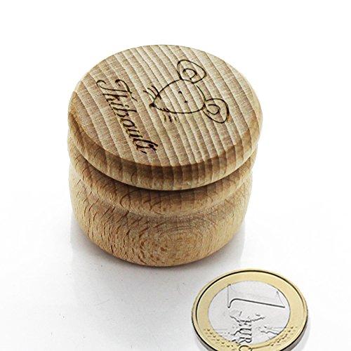 Boite à dents ronde en bois petite souris personnalisée avec un prénom Amikado