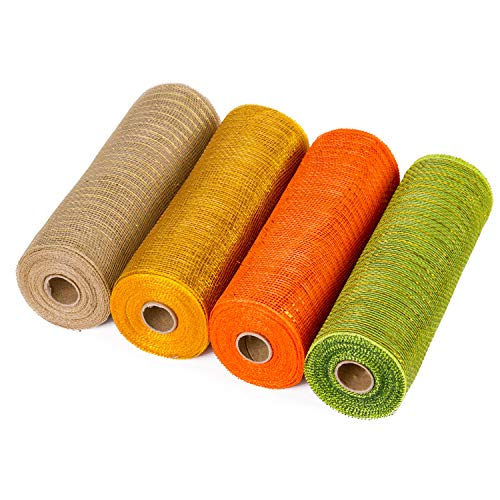 LaRibbons Deco Poly Mesh Ribbon - 10 inch x 30 feet Each Roll - Metallic Foil Orange/Gold/Cream/Green Set for Wreaths, Swags and Decorating - 4 Pack