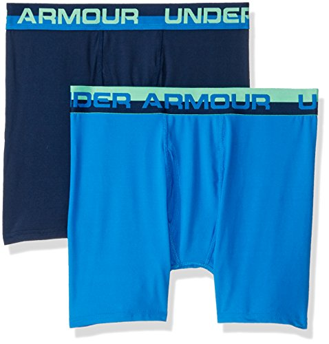 Under Armour Big Boys' 2 Pack Performance Boxer Briefs, Academy/Blue, Small (8) ()