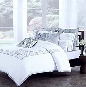 Elegant white silver grey embroidered duvet for Hotel luxury 3pc duvet cover set