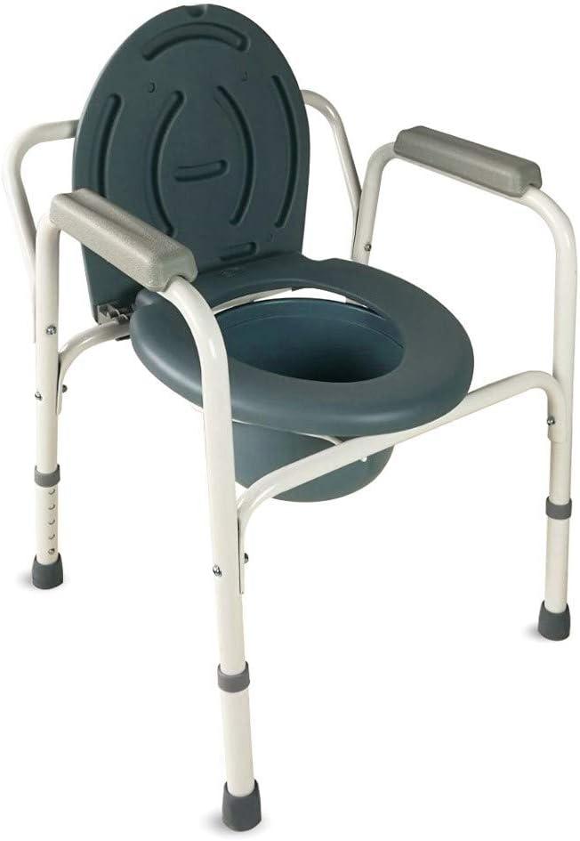 Mobiclinic, Arroyo, Silla con WC, silla de inodoro para mayores y discapacitados, silla orinal con reposabrazos, acero, ayuda de baño, altura regulable, tapa, conteras antideslizantes