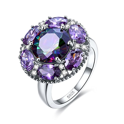 Merthus Womens 925 Sterling Silver Created Mystic Rainbow Topaz Cluster Flower Ring