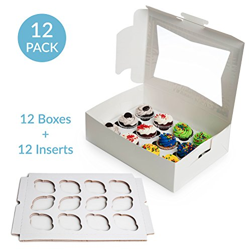 Kitchen Cupcake Insert (Paperboard Cupcake Boxes with Inserts, Set of 12 Cupcake Container Bakery Window Display Box With Cupcake Inserts, Perfect for Transporting Cupcakes by Upper Midland Products)