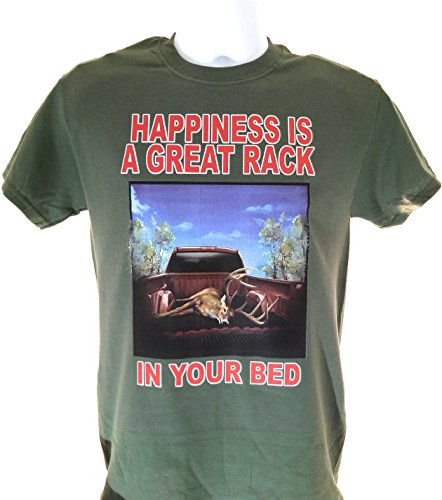 Whitetail Tees Men's Funny Hunting Tee Shirt Happiness is a Great Rack in Your Bed