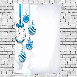 GULTMEE Home Decor Tapestry,New Year Theme A Clock and Glass Balls Illustration Christmas Decoration Pattern,Wall Hanging for Bedroom Living Room Dorm 60 X 80