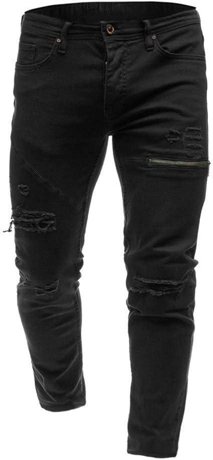 Fashion clothing メンズ ダメージ デニムパンツ スーパーストレッチ ダメージジーンズ (Color : Black, Size : M)