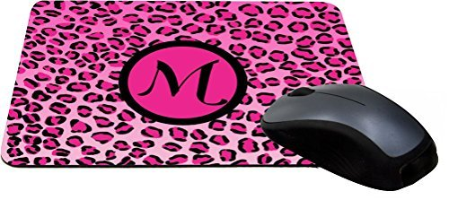 Rikki Knight Letter M Initial Hot Pink Leopard Print Monogrammed Design Lightning Series Gaming Mouse Pad (MPSQ-RK-2560) (2560 Print)