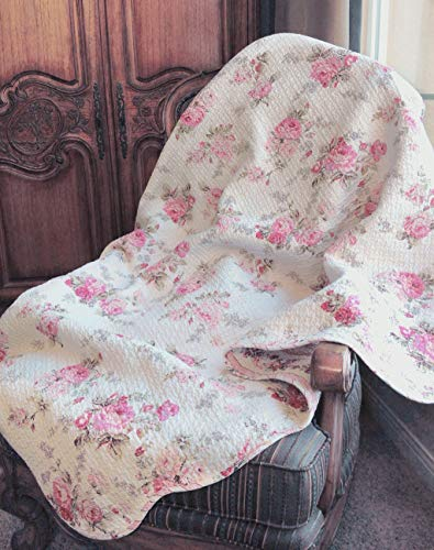 (Cozy Line Home Fashions Josephine Spring Peony Pink Ivory Floral Print Pattern Reversible 100% Cotton Quilted Throw Blanket 60