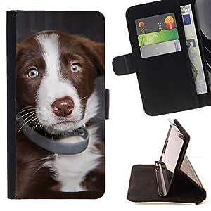 Momo Phone Case / Flip Funda de Cuero Case Cover - Pastor australiano cachorro de perro de los ojos azules; - Samsung Galaxy J3 GSM-J300