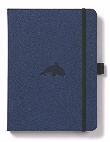 - Dingbats Wildlife Medium A5+ (6.3 x 8.5) Hardcover Notebook - PU Leather, Perforated 100gsm Cream Pages, Pocket, Elastic Closure, Pen Holder, Bookmark (Dot Grid, Blue Whale)