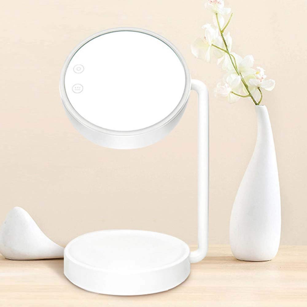 Xihouxian Elegant Rechargeable Adjustable Stepless Dimming Storage Makeup Lamp Mirror Table Lamp Makeup Mirror Makeup Mirror Lamp Storage Three-in-one Lamp G40 (Color : White) by Xihouxian