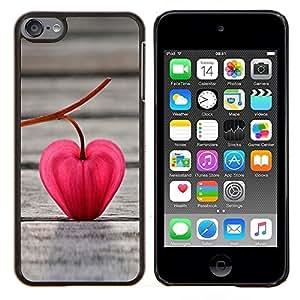 Eason Shop / Premium SLIM PC / Aliminium Casa Carcasa Funda Case Bandera Cover - Corazón rojo de la hoja - For Apple iPod Touch 6 6th Touch6