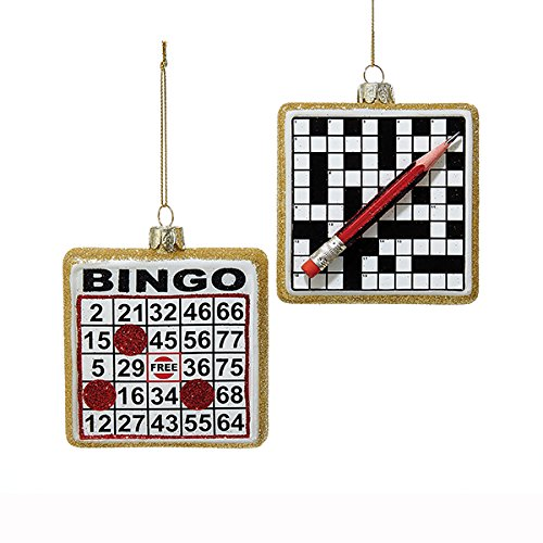 Kurt Adler 2 Assorted Glass Noble Gems Bingo Board And Crossword Puzzle Christmas (Bingo Ornament)
