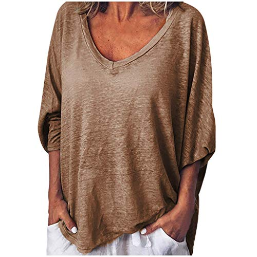 Toimothcn Woman Loose Tunic Tops Casual Solid V-Neck Stretch Sleeve Plus Size T Shirt(Khaki,XL)