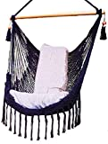 Black Hammock Chair with Macrame Edge Handmade Cotton/Indoor Outdoor Chair Hammock/Hanging Chair Swing For Sale