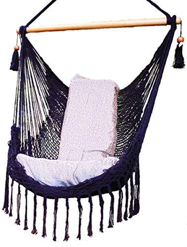 Black Hammock Chair with Macrame Edge Handmade Cotton/Indoor Outdoor Chair Hammock/Hanging Chair Swing For Sale