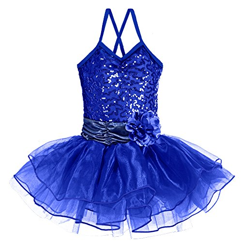 BAOHULU Girls Kids Sleeveless Shiny Princess Tutu Gallus Ballet Dress Navy 4-5Y