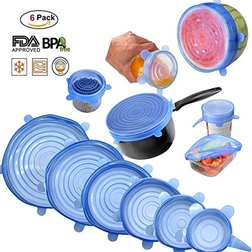 Nasin Silicone Stretch Lids BPA Free Reusable 6 pack Silicon Lids overs Food Saver Covers Various Sizes for Keeping Food Fresh, Perfect for Fruits & Vegetables or Cups, Bowls, Mugs, ()