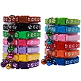 OLRIKE 13 Pcs Design Adjustable Cat Collar with Bell and Colorful, Breakaway Quick Release Safety Durable for cat