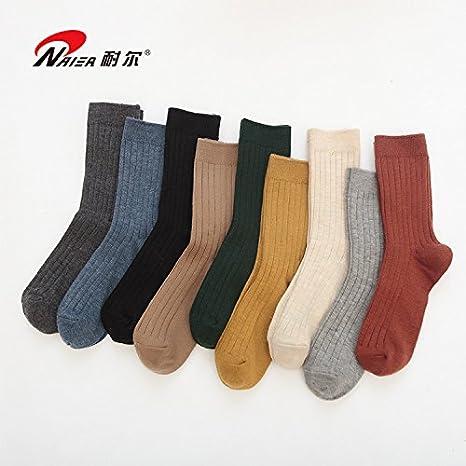 Calcetines de lana mujer caliente (hembra hojas largas, cálida lana calcetines mujer, repleto de colores tierra ,22-24cm. UMCCY