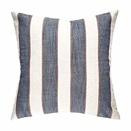 Homier Navy Blue Striped Linen Blend Decorative Pillow Cover Throw Cushion Case - Nautical Denim Blue Wide Stripes with Modern White/Cream Linen - Large, 20 x 20 Inches