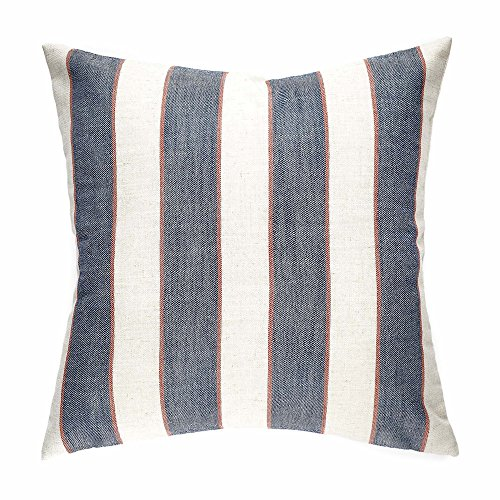 homier navy blue striped linen blend decorative pillow cover throw cushion case nautical denim blue wide stripes with modern whitecream linen large - Large Decorative Pillows