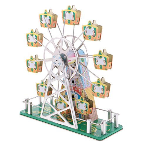 (MonkeyJack Vintage Fairground Ferris Wheel Wind Up Clockwork Tin Toy wi/ Music)