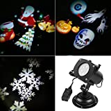 Christmas New Year's Day Valentine's Day Carnival Birthday SENQIAO Projector Light 12 Pattern LED Landscape Light Waterproof Garden Lamp Projection Lighting for Holiday, Party, Garden Decoration