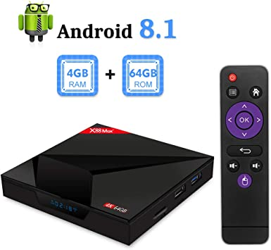 Sidiwen X88 MAX + Android 8.1 TV Box, 4GB RAM 64GB ROM RK3328 Quad-Core con 2.4G / 5G Doble Banda WiFi Bluetooth 4.1 Soporte 4K 3D, Smart TV Box: Amazon.es: Electrónica