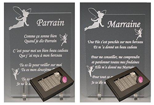 1 Poème Parrain + 1 Marraine - Fée - Baptême & Communion Gravure Events