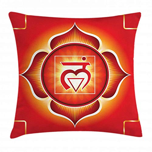 HFYZT Chakra Throw Pillow Cushion Cover, Muladhara The Root Chakra Trust Grounded Symbol Associated to Earth, Decorative Square Accent Pillow Case, 18 X 18 Inches, Ruby Vermilion and Scarlet
