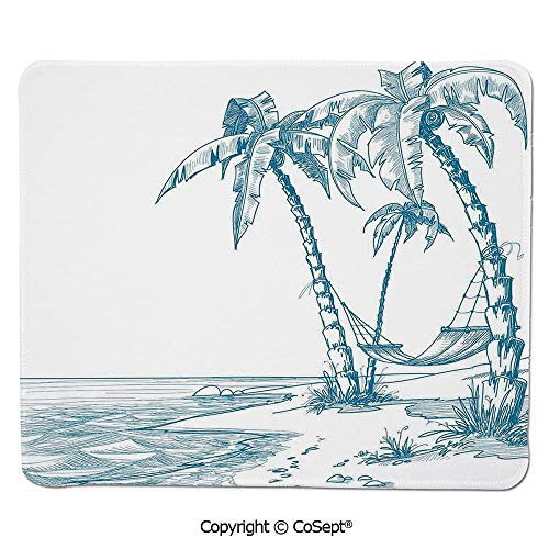 Gaming Mouse Pad,Modern Illustration of a Tropical Beach with Palm Trees and Hammock Hawaiian Relax Decorative,Non-Slip Water-Resistant Rubber Base Cloth Computer Mouse Mat (15.74